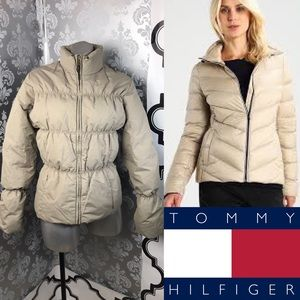 TOMMY HILFIGER Cute Beige Down Feather Puffer Coat